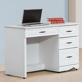 【水晶晶家具/傢俱首選】CX1452-3 愛黛兒烤白105公分四抽書桌