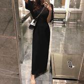 梨卡 - 初秋韓國心機寬鬆顯瘦純色短袖連身裙連身長裙B966