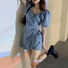 牛仔洋裝 泡泡短袖牛仔連身裙女設計感2021新款夏季辣妹收腰顯瘦小個子裙子 寶貝 618狂歡