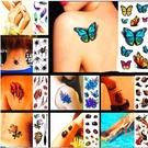 【1套6張】3D紋身貼防水仿真立體彩色持久身體彩繪水果花朵魚蝎子假刺青貼紙【橘社小鎮】