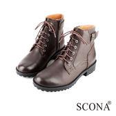 SCONA 全真皮 經典扣飾綁帶短靴 咖啡色 8769-2