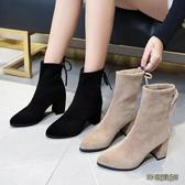 短靴女粗跟2019冬季新款百搭短筒靴子方頭中跟高跟網紅瘦瘦靴wl7476[3C環球數位館]