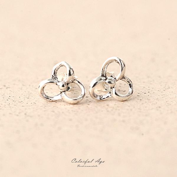 耳環 925純銀簡約三花瓣耳針 NPD74