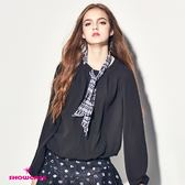 【SHOWCASE】唯美挖背圓領領巾雪紡上衣(黑)