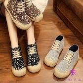 民族風女鞋 北京老布鞋 休閒百搭草編鞋 平底單鞋 高幫亞麻鞋