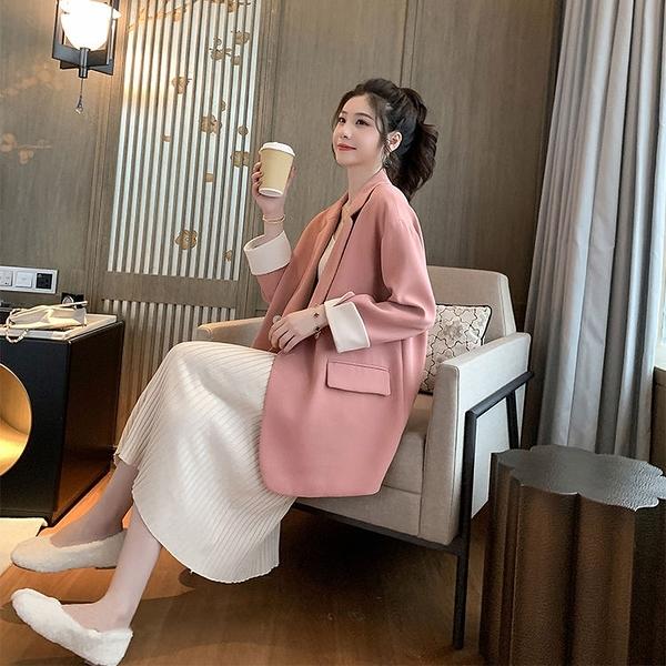 韓版網紅粉色小西裝外套女雙排扣寬鬆休閑chic西服春秋季202 快速出貨