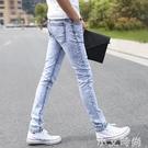 雪花灰白淺色牛仔褲男生休閒男褲子夏季薄款小腳修身韓版潮流長褲 小艾新品