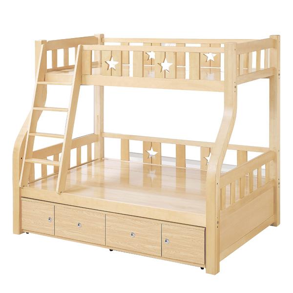 【采桔家居】  布凱  時尚3.5尺實木單人收納雙層床台(不含床墊)