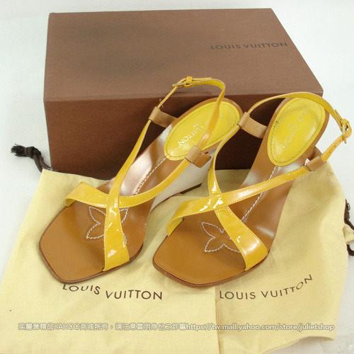 茱麗葉精品 二手名牌 【9.8成新】Louis Vuitton 交叉楔型涼鞋