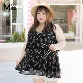 Miss38-(現貨)【A05302】雪紡蛋糕裝 碎花黑 吊帶可調 背心 小可愛 無袖 大尺碼上衣- 大尺碼女裝