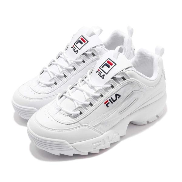 Fila 休閒鞋 Disruptor 2 KR 白 藍 女鞋 鋸齒鞋 老爹鞋 反光 韓妞必備 復古運動鞋【ACS】 4C608U125