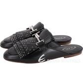 TOD'S DoubleT 流蘇鉚釘牛皮穆勒鞋(女款/黑色) 1830079-01