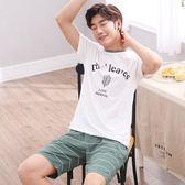 男士睡衣夏季短袖短褲青少年初中學生夏天全棉薄款家居服套裝 -十週年店慶 優惠兩天