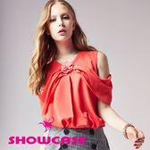【SHOWCASE】甜美露肩袖縮腰雪紡上衣(紅)