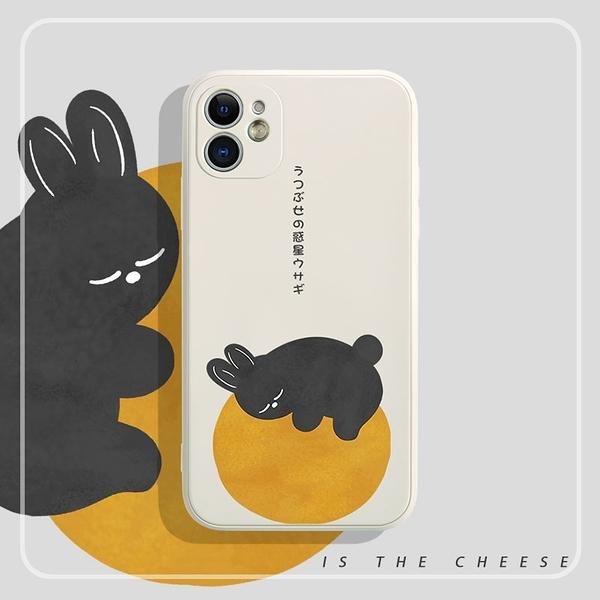 iPhone12 蘋果手機殼 預購 可掛繩 兔兔趴月亮 矽膠軟殼 i11/iX/i8/i7/SE