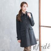 【ef-de】激安 都會風排釦翻領氣質大衣外套(深灰)