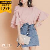 (現貨)PUFII-雪紡上衣 雙層荷葉袖素面雪紡上衣 2色-0426 現+預 春【ZP14482】