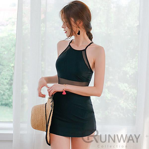【R】黑色小洋裝 性感網紗 削肩 連身裙式 氣質 泳裝 顯瘦翹臀 舒適無鋼圈 泳衣
