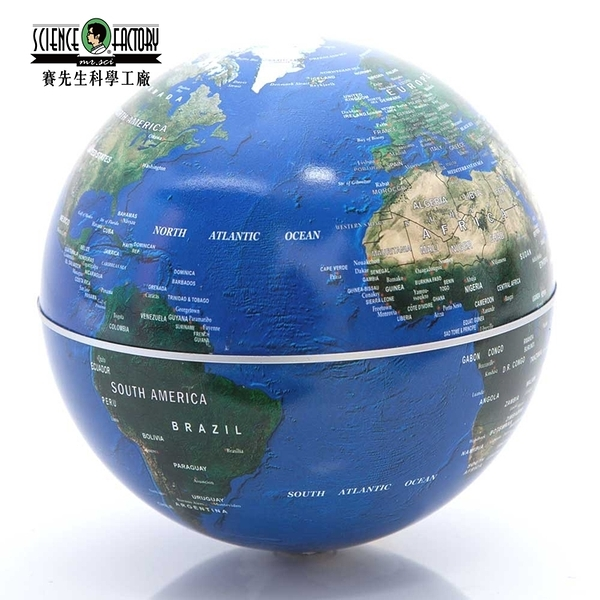 又敗家Mr.Sci賽先生自轉地球儀CNY100005神奇旋轉地球儀自轉儀辦公室桌上小物適學生認Earth地球藍Globe