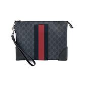 【台中米蘭站】全新品 GUCCI GG supreme條紋織帶拉鍊手拿包(523603-黑)