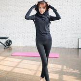 瑜珈服套裝(兩件套)-秋冬款速乾透氣反光條長袖女運動服5色73oc1[時尚巴黎]