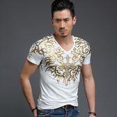 男T恤短袖 韓版休閒 潮流上衣 中國風春夏季 韓版時尚緊身燙金短袖T恤wx3317