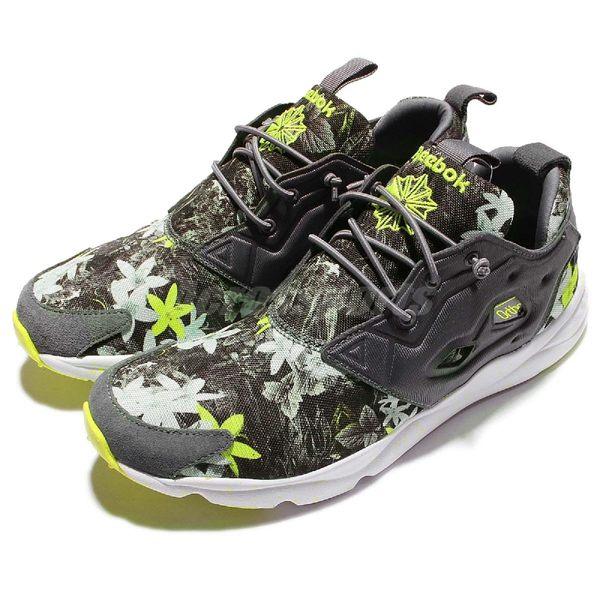 Reebok 休閒慢跑鞋 Furylite NP Neon Pops 灰黃綠 花卉 花花圖案 運動鞋 休閒鞋 男鞋【PUMP306】 V69506