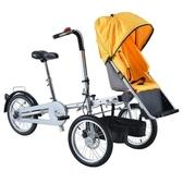 母嬰車可坐可騎行折疊三輪車親子車母子車嬰兒推車自行車