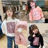 女童上衣 韓版女童抓絨加厚可愛小鹿保暖上衣