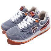 FILA 復古慢跑鞋 J311R 藍 橘 白底 麂皮 運動鞋 休閒鞋 女鞋【PUMP306】 5J311R996