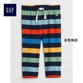 Gap男嬰兒 布萊納小熊刺繡條紋鬆緊腰長褲 374303-彩色條紋