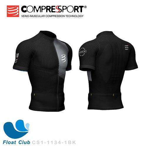 【Compressport瑞士】PT2 男版短袖跑衣(黑)