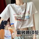 EASON SHOP(GW5954)實拍磨沙感風景圖字母印花短版露肚臍圓領短袖T恤女上衣服合身貼肩內搭衫素色棉T