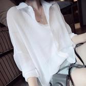 薄款襯衫女韓范雪紡外搭上衣