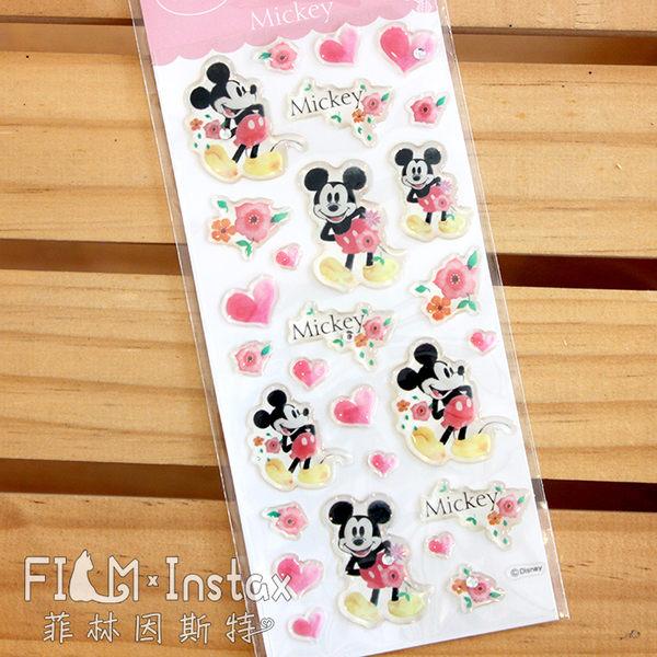 【菲林因斯特】日本進口 滴膠貼紙 米奇愛心 米老鼠/ 佈置 裝飾拍立得底片 卡片