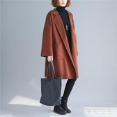 大碼女裝秋冬裝新款2019韓版毛呢大衣時尚寬鬆中長款呢子外套 YN2593『美鞋公社』