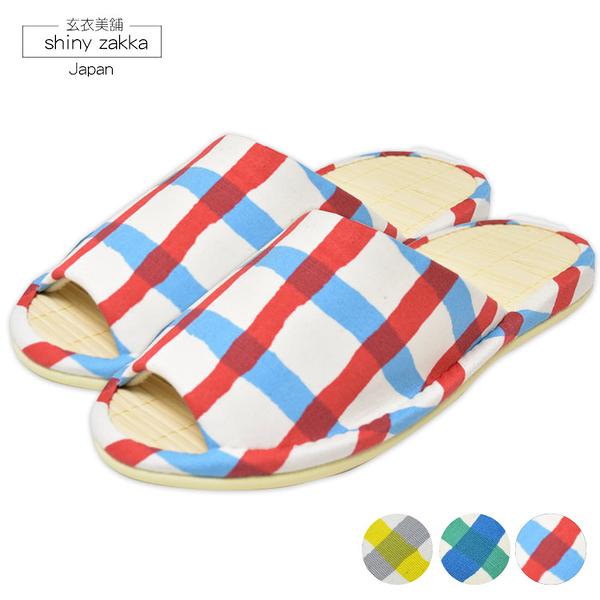 日本室內拖鞋-amis塌塌米涼蓆-雙色格紋圖樣23~24.5-粉/黃/藍-玄衣美舖
