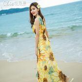 無袖印花雪紡連身裙波西米亞長裙海邊度假沙灘裙「Chic七色堇」