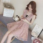 春夏新品鉤花鏤空歐根紗甜美花朵背帶連身裙打底一片式抹胸套裝裙無袖洋裝