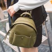 後背包-皮革純色簡約時尚休閒女-雙肩包-4色73ni9【時尚巴黎】