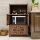 廚房家用微波爐置物架收納架碗盤儲物櫃免打孔多層落地櫃