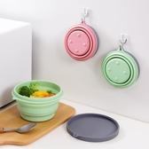 居家家旅行便攜硅膠折疊碗兒童寶寶旅游戶外餐具帶蓋可折疊泡面碗
