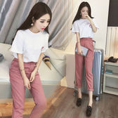 【GZ C1】實拍春裝新款韓版小香風女兩件套短袖休閒褲時尚學生修身套裝