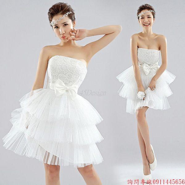 (45 Design)  客製化 定製款7天到貨  韓版水溶蕾絲小禮服伴娘連衣裙新娘結婚婚紗LF1002