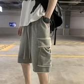 歐美高街潮牌嘻哈kanye運動短褲男oversize寬鬆毛邊大口袋五分褲 【雙11特惠】