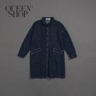 Queen Shop【01084680】女裝 親子系列 撞色線牛仔襯衫洋裝 S/M*現+預*