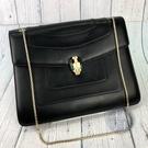 BRAND楓月 BVLGARI 寶格麗 黑色 皮革 金鍊 雙層 蛇頭包 肩背包 側背包 大款
