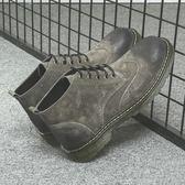 馬丁靴 男短靴 男新款棉鞋男布洛克真皮短男英倫男鞋秋冬加絨保暖男靴子《印象精品》q1162