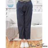 【Tiara Tiara】百貨同步aw 雙鈕扣造型牛仔長褲(藍/黑)
