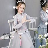 兒童禮服 花童禮服女春加絨加厚兒童公主裙主持人冬裙女童漢服古裝長袖【快速出貨八折鉅惠】